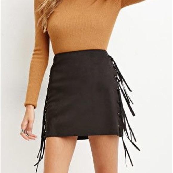 13d333de6 Forever 21 Dresses & Skirts - Forever 21 Faux Suede Fringe Mini Skirt ...